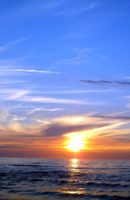 zachód słońca nad morzm