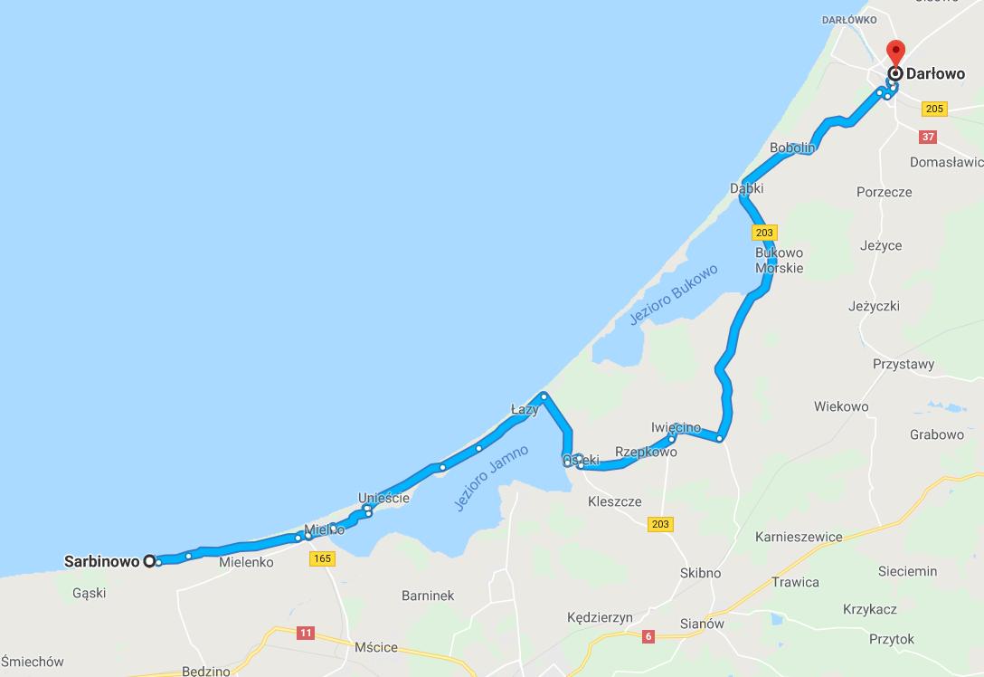 trasa rowerowa Sarbinowo - Darłowo