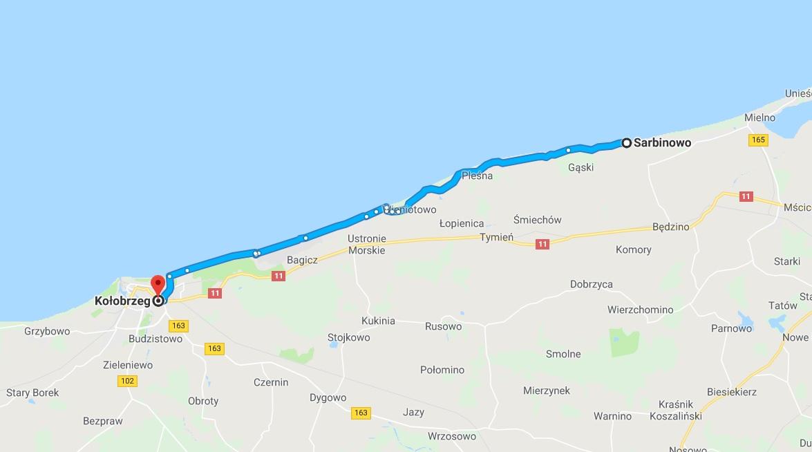 trasa rowerowa Sarbinowo-Kołobrzeg